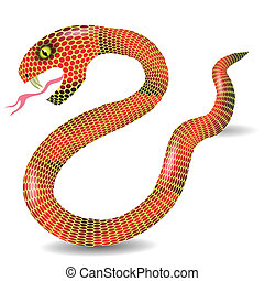 red snake - colorful illustration with red snake for your...