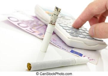 mitad, quemado, Cigarrillo, calculadora, Euro, dinero