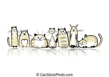 divertido, gatos, familia, su, diseño