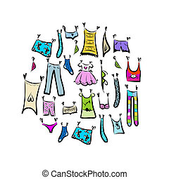 Sketch of clothes collection for your design