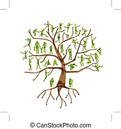 Family tree, relatives, people silhouettes