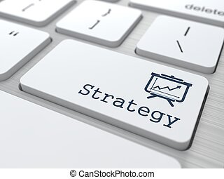 "Business Concept. ""Strategy"" Button."