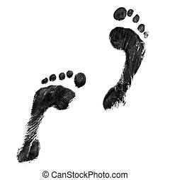 Black feet - Impression of a pair of feet in black ink