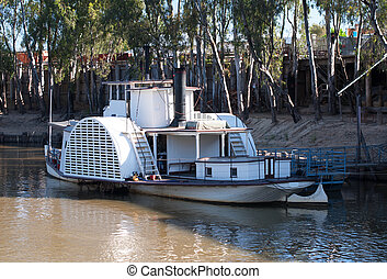 Paddlewheeler - A paddlewheeler berthed on the Murray River,...