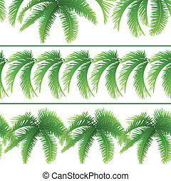 Seamless patterns, palm leaves - Set seamless patterns,...