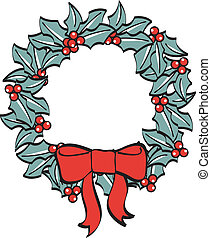 Christmas Wreath Bow Ribbon Clipart - Christmas wreath with...