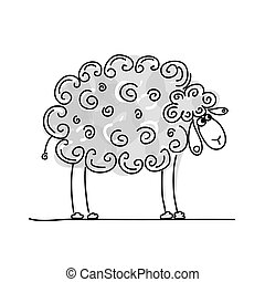 Funny grey sheep, sketch for your design