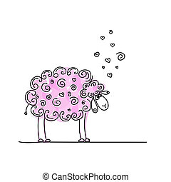 Funny pink sheep, sketch for your design