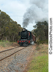 Steam Engine - The steam train on the Goldfields Railway in...