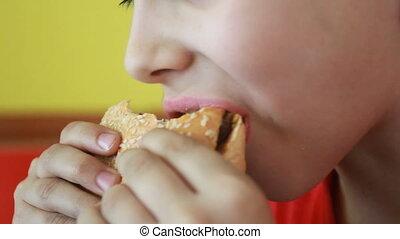 little caucasian boy eating burger