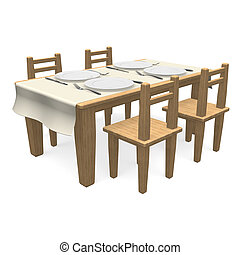 Cutlery On Wooden Dining Table - 3D render illustration...