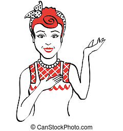 Vintage Retro 1950s woman clip art