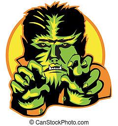 Halloween Werewolf Wolf Man Moon - Halloween werewolf or...