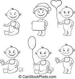 Cartoon children with toys, outline - Set cartoon children...