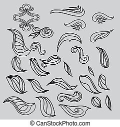 leaf design - hand drawing tribal tattoo leaf vector design