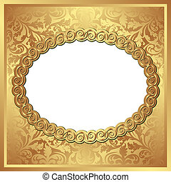 golden background with oval frame and transparent space...