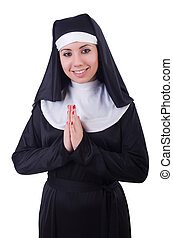 Funny nun isolated on the white
