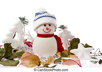 Fall and Winter snowman on white background with Christmas...
