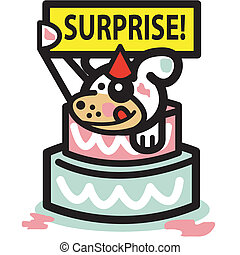 Dog Birthday Cake Surprise Party - Dog popping out of...