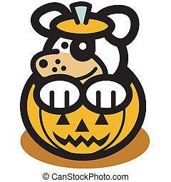Halloween Pumpkin Face Cute Dog Art - Halloween pumpkin with...