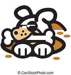 Dog & Dog Bone Cartoon Clip Art - Dog and dog bone cartoon...