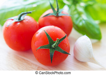Bruschetta - Close up view of bruschetta and ingredients