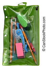 Green Plastic Pouch with School Supplies - Green plastic...