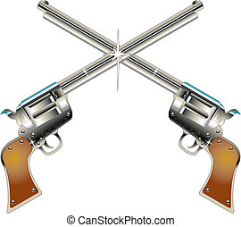 Six Guns Pistols Western Clip Art