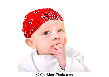 Baby Boy in Headscarf Isolated on the White Background