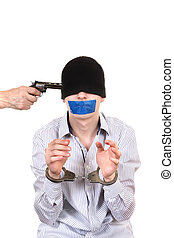 Hostage in Handcuffs with Sealed Mouth Isolated on the White...