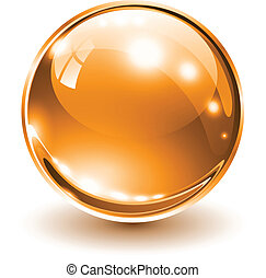 3D glass sphere orange, vector illustration.