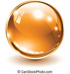 3D glass sphere orange, vector illustration.