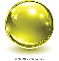 3D glass sphere gold, vector illustration.