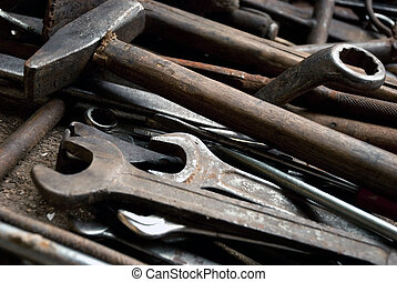 tools - Large group of tools in workshop, close-up