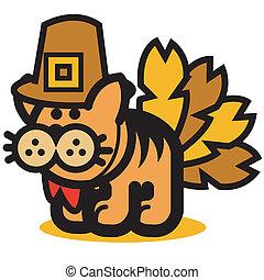 Funny Thanksgiving Turkey Cat - Cat Thanksgiving clip art