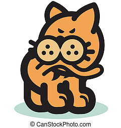 Funny Cat Biting Tail Clip Art
