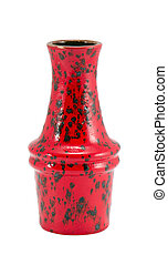 colorful painted red ceramic vase isolated white