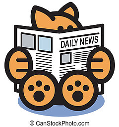 Cat Reading Newspaper Clip Art - Cat reading newspaper clip...