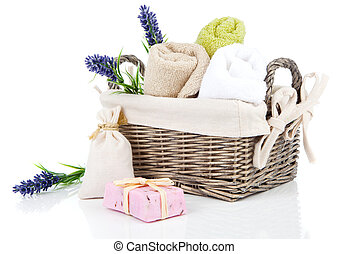 toiletries for relaxation, isolated on white background -...