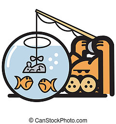 Cat With Fish Bowl Clip Art
