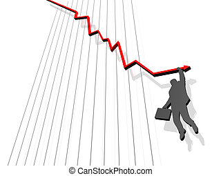 failure - Silhouette of businessmen clinging to falling red...