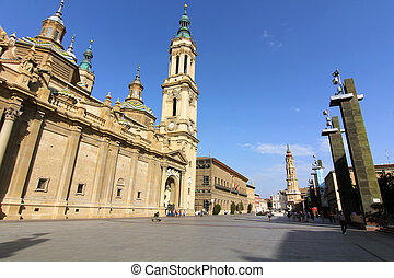 famous plaza del pilar in the center of the city of Zaragoza, Spain