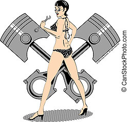Sexy Pinup Girl Clip Art - Sexy pinup girl wearing a bikini,...