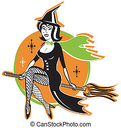 Hot Sexy Vintage Halloween Witch