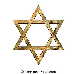 Star of David - Golden Star of David against white...