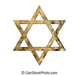 Star of David - Golden Star of David against white...