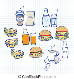 Food and beverage - Hand drawn designs in pastel colours of...