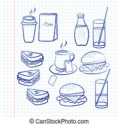 Hand drawn outlines of food - Hand drawn outlines of a...