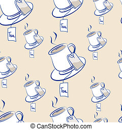 Teatime - Seamless background pattern of steaming hot cups...