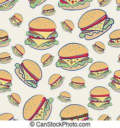 Cheeseburgers - Seamless background pattern of different...